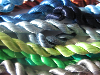 CCC exhibition - Pigmented artificial silk skeins Courtaulds copyright A T Boyle lower res