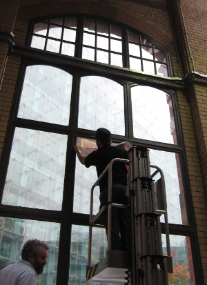 The cherry picker moves into the gallery